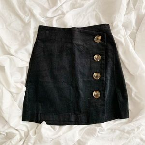 Black Mini Skirt with Buttons NWT